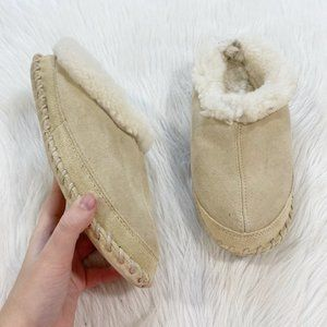 EDDIE BAUER Shearling Fur Lined Slipper Moccasin